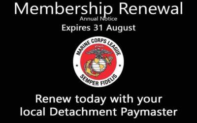 Membership Renewal Notice – Deadline is August 31st